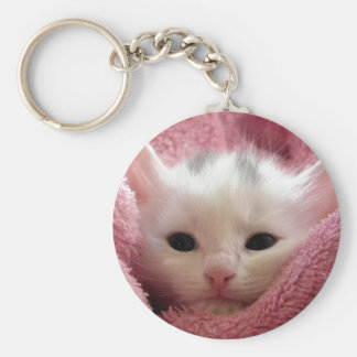 Precious White Kitten Key Chain