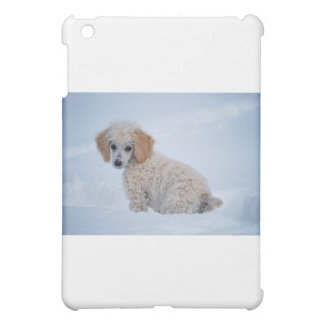 Precious White Poodle Puppy in Snow iPad Mini Covers