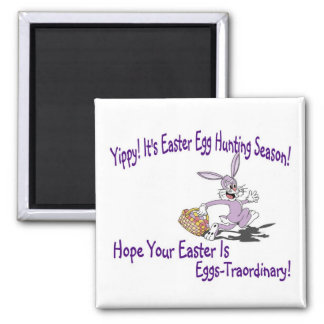 Precious - Yippy! It's Easter Egg Hunting Season! 2 Inch Square Magnet