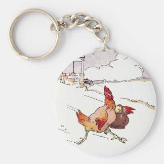 Precipitado apresuramiento de la gallina llavero redondo tipo pin
