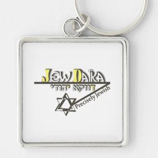 Precisely Jew Silver-Colored Square Keychain