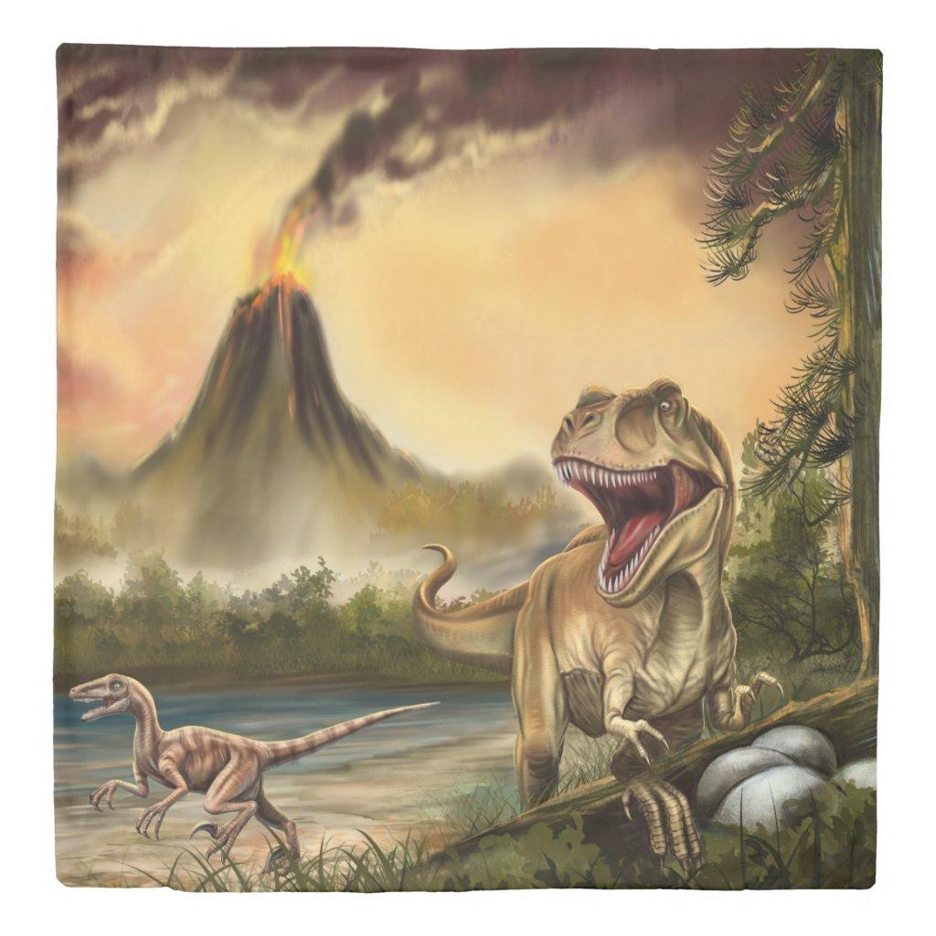 Predator Dinosaurs (1 side) Queen Duvet Cover