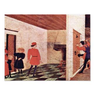 Predellatafel para recibir comienzo de la escena invitación 10,8 x 13,9 cm