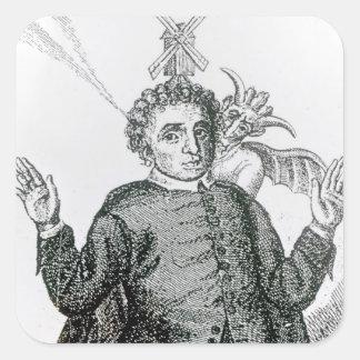 Predicador ardiente del ejército de Hugh Peter Calcomanías Cuadradas