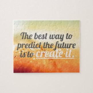 Prediga el futuro - cita de motivación puzzle