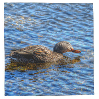 Preening Female Mallard Duck & River 2 Wildlife Cloth Napkin