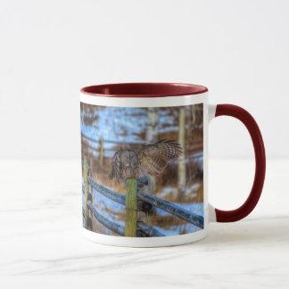 Preening Great Gray Owl and Snow Wildlife Raptor Mug