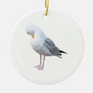 Preening Gull. Christmas Ornament