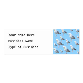 Preening Gull Pattern, Sketched Style on Blue. Mini Business Card