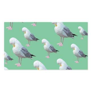 Preening Gull Pattern, Sketched Style on Green. Business Card