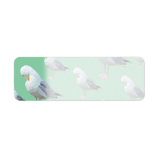 Preening Gull Pattern, Sketched Style on Green. Label