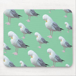 Preening Gull Pattern, Sketched Style on Green. Mouse Pad