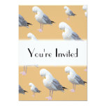 Preening Gull Pattern, Sketched Style on Tan. Custom Invites
