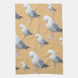 Preening Gull Pattern, Sketched Style on Tan. Towel