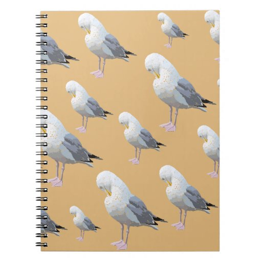Preening Gull Pattern, Sketched Style on Tan. Spiral Note Book