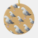 Preening Gull Pattern, Sketched Style on Tan. Christmas Ornament