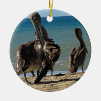 Preening Pelican Double-Sided Ceramic Round Christmas Ornament