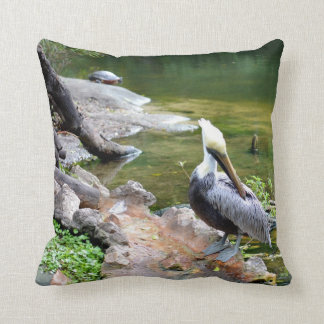 preening pelican slider turtle back photo c.jpg throw pillow