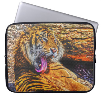 Preening Sumatran Tiger Big Cat Wildlife Art Computer Sleeve