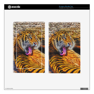 Preening Sumatran Tiger Big Cat Wildlife Art Skins For Kindle Fire