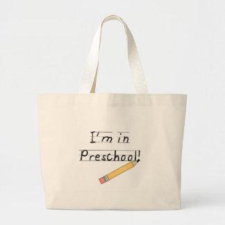 Preescolar alineado del papel y del lápiz bolsa tela grande