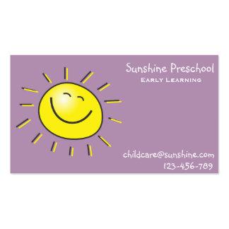 Preescolar de la sol que aprende temprano el tarjetas de visita