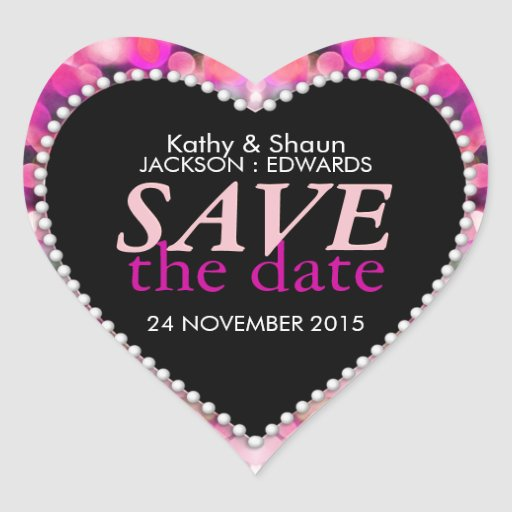 Preety Pink Tropical Save the Date Heart Sticker
