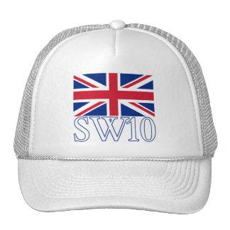 Prefijo postal SW10 de Londres con Union Jack Gorros Bordados