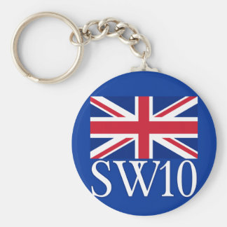 Prefijo postal SW10 de Londres con Union Jack Llavero Redondo Tipo Pin