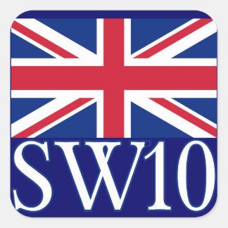 Prefijo postal SW10 de Londres con Union Jack Pegatina Cuadrada