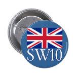 Prefijo postal SW10 de Londres con Union Jack Pin