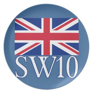 Prefijo postal SW10 de Londres con Union Jack Platos Para Fiestas