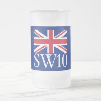 Prefijo postal SW10 de Londres con Union Jack Taza De Cristal