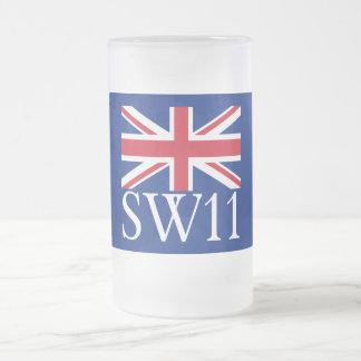 Prefijo postal SW11 de Londres con Union Jack Taza De Cristal