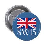Prefijo postal SW15 de Londres con Union Jack Pins