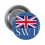 Prefijo postal SW1 de Londres con Union Jack Pins
