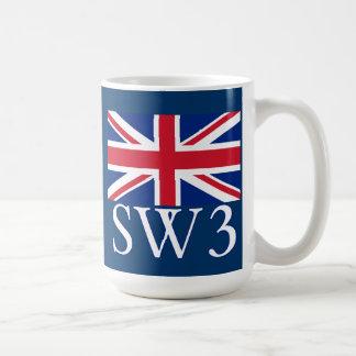 Prefijo postal SW3 de Londres con Union Jack Taza