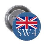 Prefijo postal SW4 de Londres con Union Jack Pins