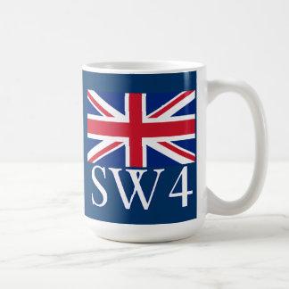 Prefijo postal SW4 de Londres con Union Jack Taza Clásica