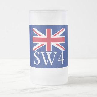 Prefijo postal SW4 de Londres con Union Jack Taza De Cristal