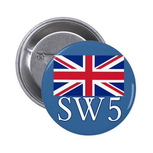 Prefijo postal SW5 de Londres con Union Jack Pin