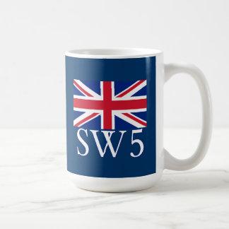 Prefijo postal SW5 de Londres con Union Jack Taza Clásica