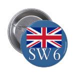 Prefijo postal SW6 de Londres con Union Jack Pin