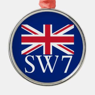 Prefijo postal SW7 de Londres con Union Jack Adorno Redondo Plateado