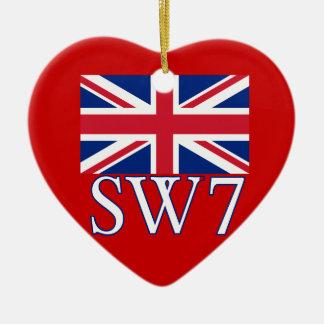 Prefijo postal SW7 de Londres con Union Jack Adorno De Cerámica En Forma De Corazón