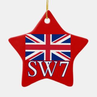 Prefijo postal SW7 de Londres con Union Jack Adorno De Cerámica En Forma De Estrella