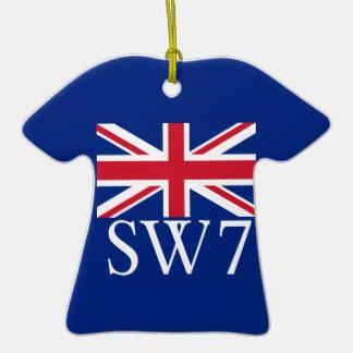 Prefijo postal SW7 de Londres con Union Jack Adorno De Cerámica En Forma De Camiseta