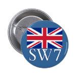 Prefijo postal SW7 de Londres con Union Jack Pin