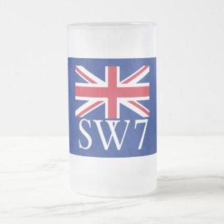 Prefijo postal SW7 de Londres con Union Jack Taza De Cristal
