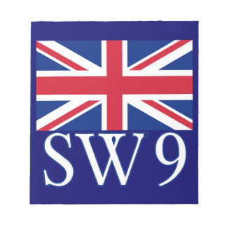 Prefijo postal SW9 de Londres con Union Jack Blocs